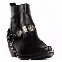 FootCourt Black Cowboy Ankle Boots Texas Boots Western Ankle Boots Genuine Leather Pointed Toe Removable Buckled Ankle Harness