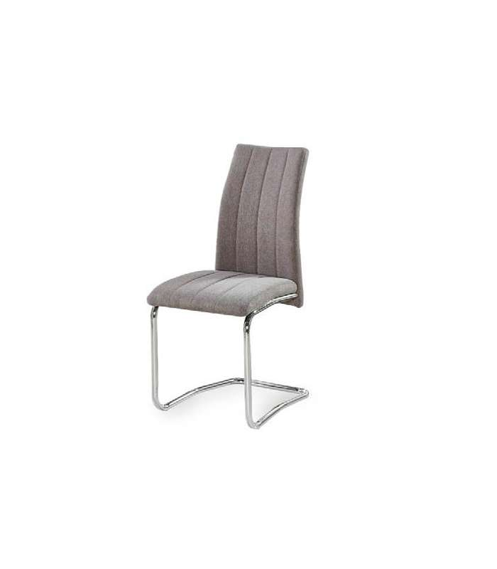 Pack Of 4 Chairs Upholstered In Gray Fabric Soria