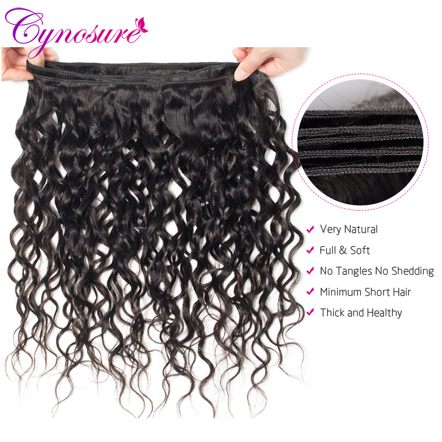 U857e896ddd354fc2ac76f4faf5c7d5ce2 Cynosure Human Hair Water Wave Bundles with Closure Double Weft Brazilian Hair Weave 3 Bundles With Closure Remy