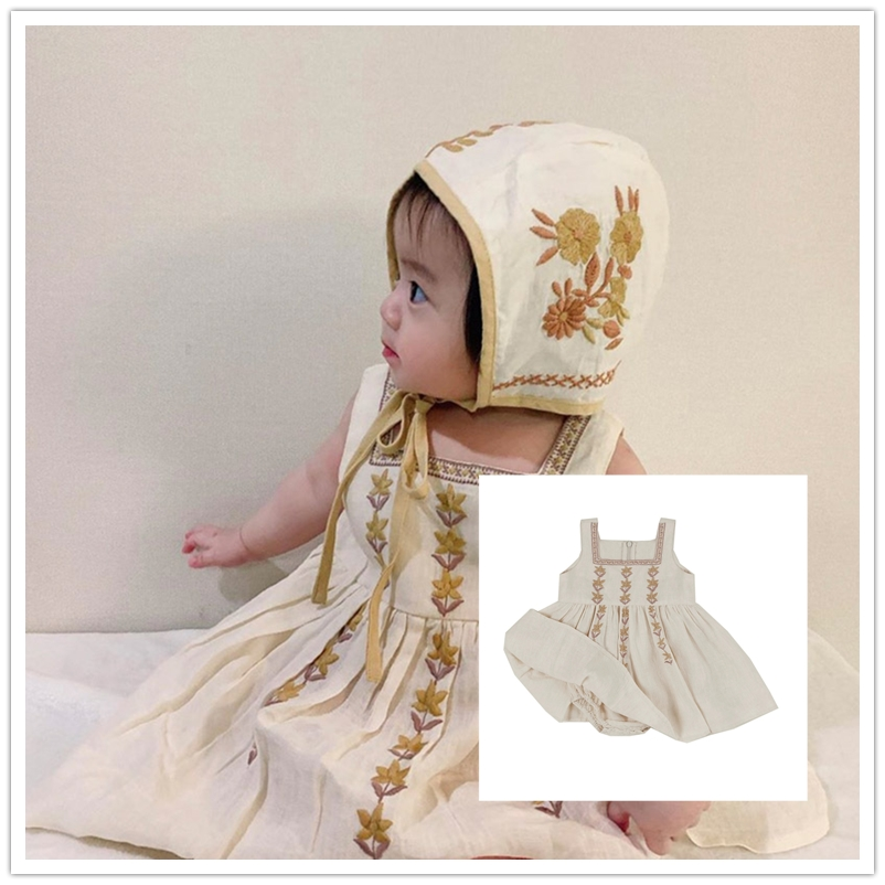 Pre-sale Baby Dress Children's Clothing APO Series Cotton And Linen Retro 2020 Summer Girl Baby Embroidered DRESS