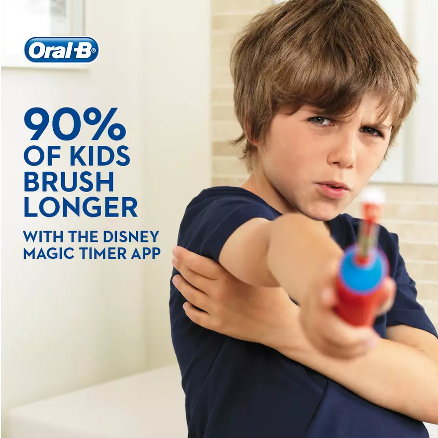 Oral-B For Kids Rechargeable Toothbrush D100 Cars Special Series, Can Be Customized Temalı Decal, 8 day Charge Kapasitesi image
