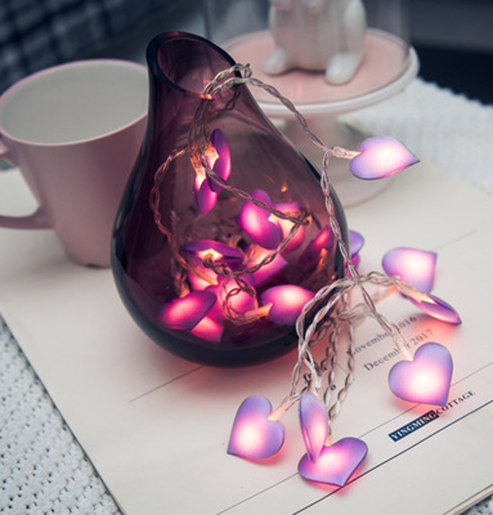 Led Love Heart Wedding String Fairy Light Christmas LED Led Fairy Pink Girl String Light Indoor Party Garden Garland Lighting