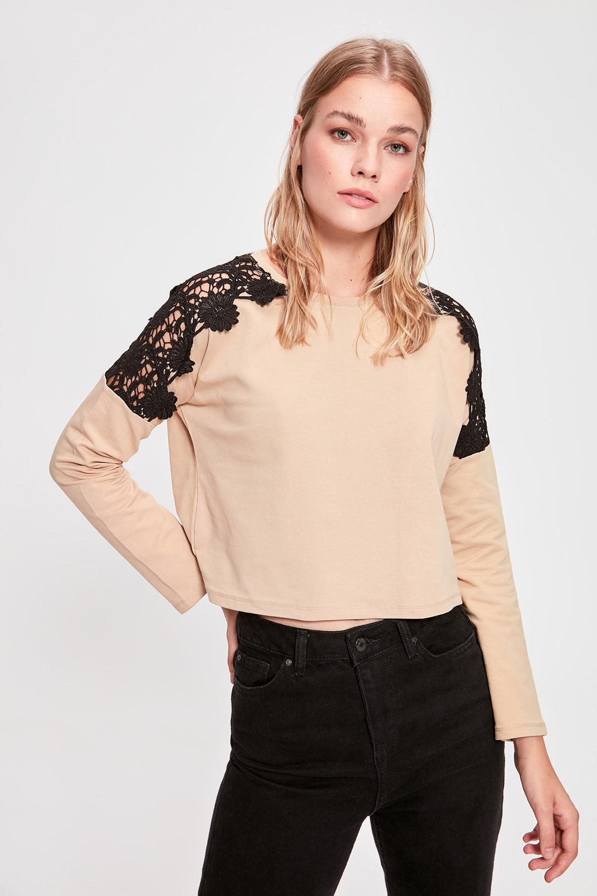 Trendyol Camel Ruched Knitted Sweatshirt TWOAW20SW0310