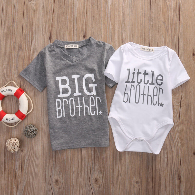 2020 Matching Outfits New Hot  Fashion White Little Brother Baby Boy Romper Bodysuit Gray  Big Boy T-shirt Tee