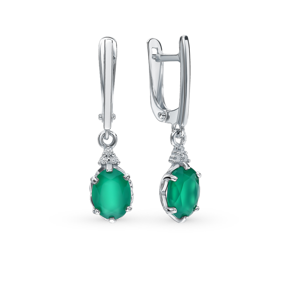 Silver Earrings With Cubic Zirconia And Agate Sunlight Sample 925