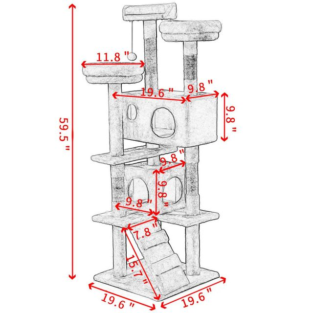 Pet Cat Tree Toy Condo Cat Climbing Tower Multi-layer With Hammock Cat House Furniture Scratching Solid Wood Post for Cat 4