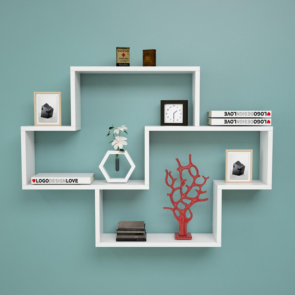 Shelf&Shelf MADE IN TURKEY Modern Bookshelf Decorative Living Room Wood Wall Book Holder Organizer Shelf Rack Bookcase White