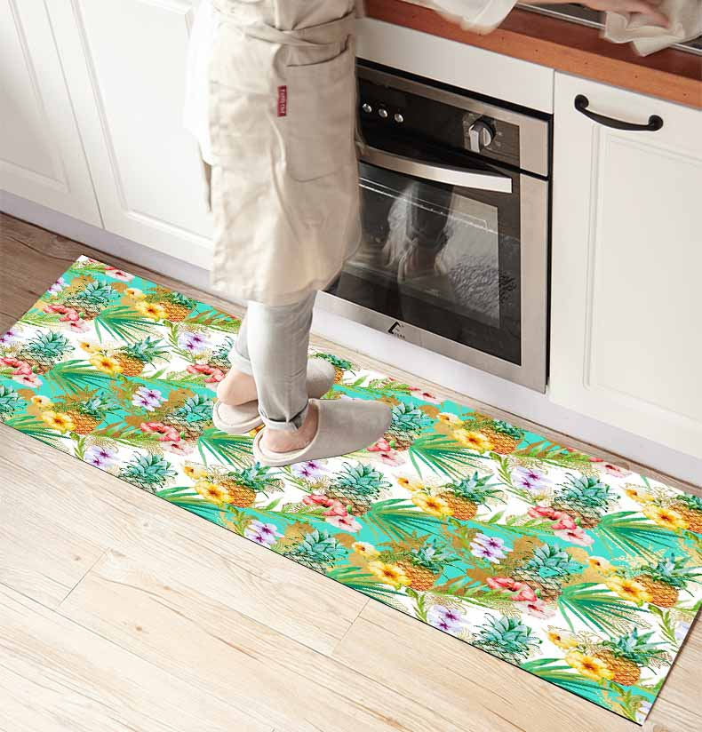 Else Green Leaves Tropical Pine Apple 3d Print Non Slip Microfiber Kitchen Counter Modern Decorative Washable Area Rug Mat