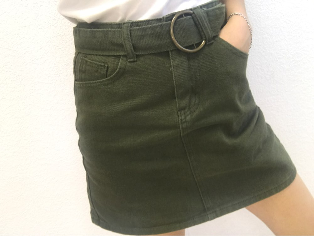 5 Colors Women'S Skirt Summer High Waist Skirts Womens Casual Korean A Line Mini Skirt Harajuku Minimalism Denim Skirt With Belt photo review
