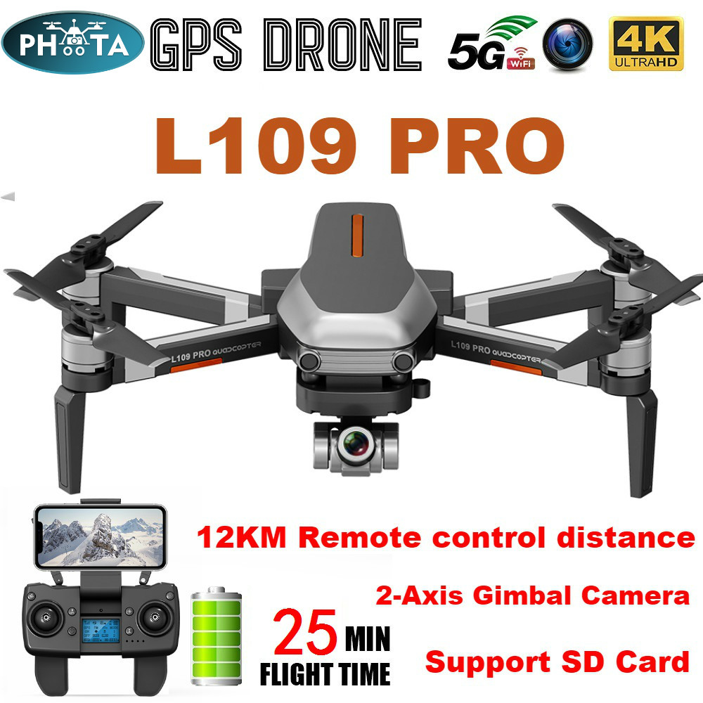 L109 Pro GPS Drone 4K Two-Axis Anti-Shake Stable Gimbal Camera HD 5G WIFI FPV Brushless Motor 1.2km Long Distance RC Quadcopter