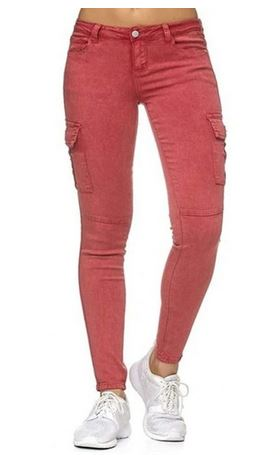 LIS0952 Solid Jeans Button Side Stand Pockets Trouser Pencil Pants  Pantalon Femme