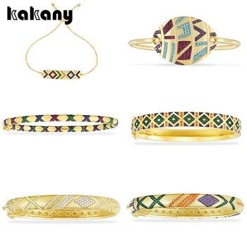 Kakany nueva moda alta calidad colgante 1 1, amarillo multicolor Tribal pavimentado pulsera con Cruz señoras lujo joyas de Mónaco