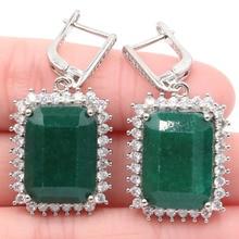 Charming Big Rectangle Gemstone Real Green Emerald White CZ Silver Earrings 40x20mm