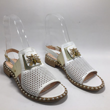 Summer Slippers Bee-Sandals Beach-Shoes Women Open-Toe Gold-Colour White Genuine-Leather