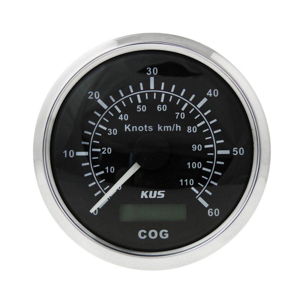 Compteur de vitesse analogique 0-60 noeuds, cadran noir lunette en acier inoxydable, l'antenne à distance, etc. 85mm KY08011