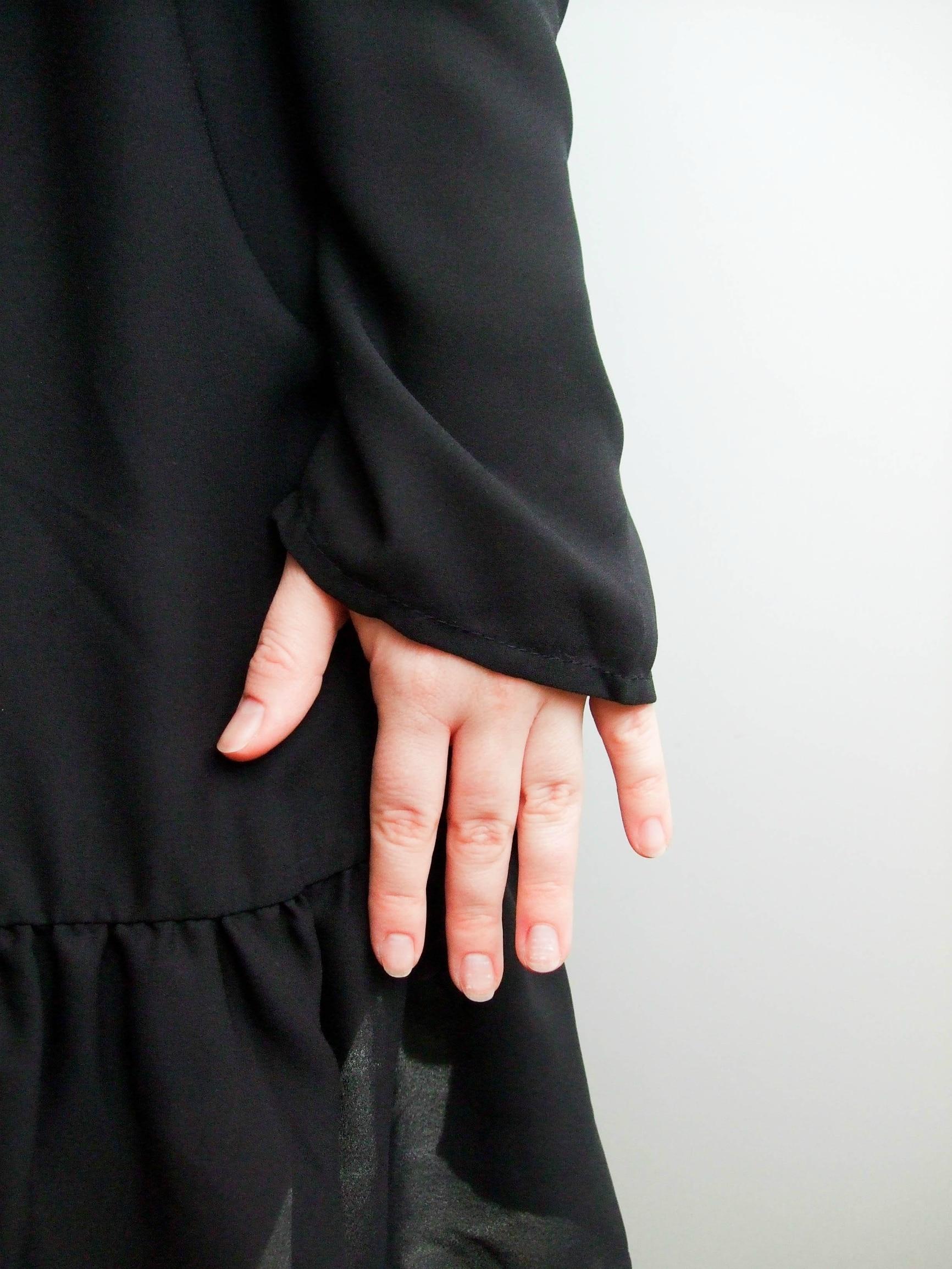 Hot 2019 autumn new fashion women's temperament commuter puff sleeve small high collar natural A word knee Chiffon dress reviews №7 342832