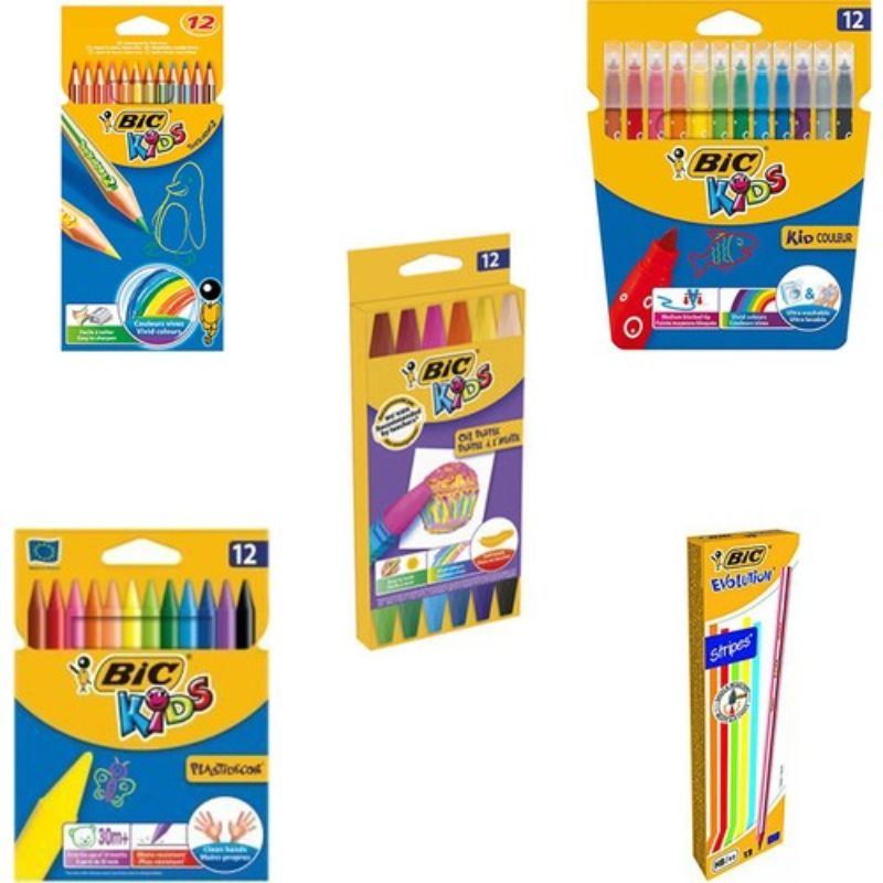 BIC Stationary Set 5 Pieces Colorful Painting Pencils Crayon Oil Pencils Dye Pastel Color Beginner Full School Picture Paint Kit