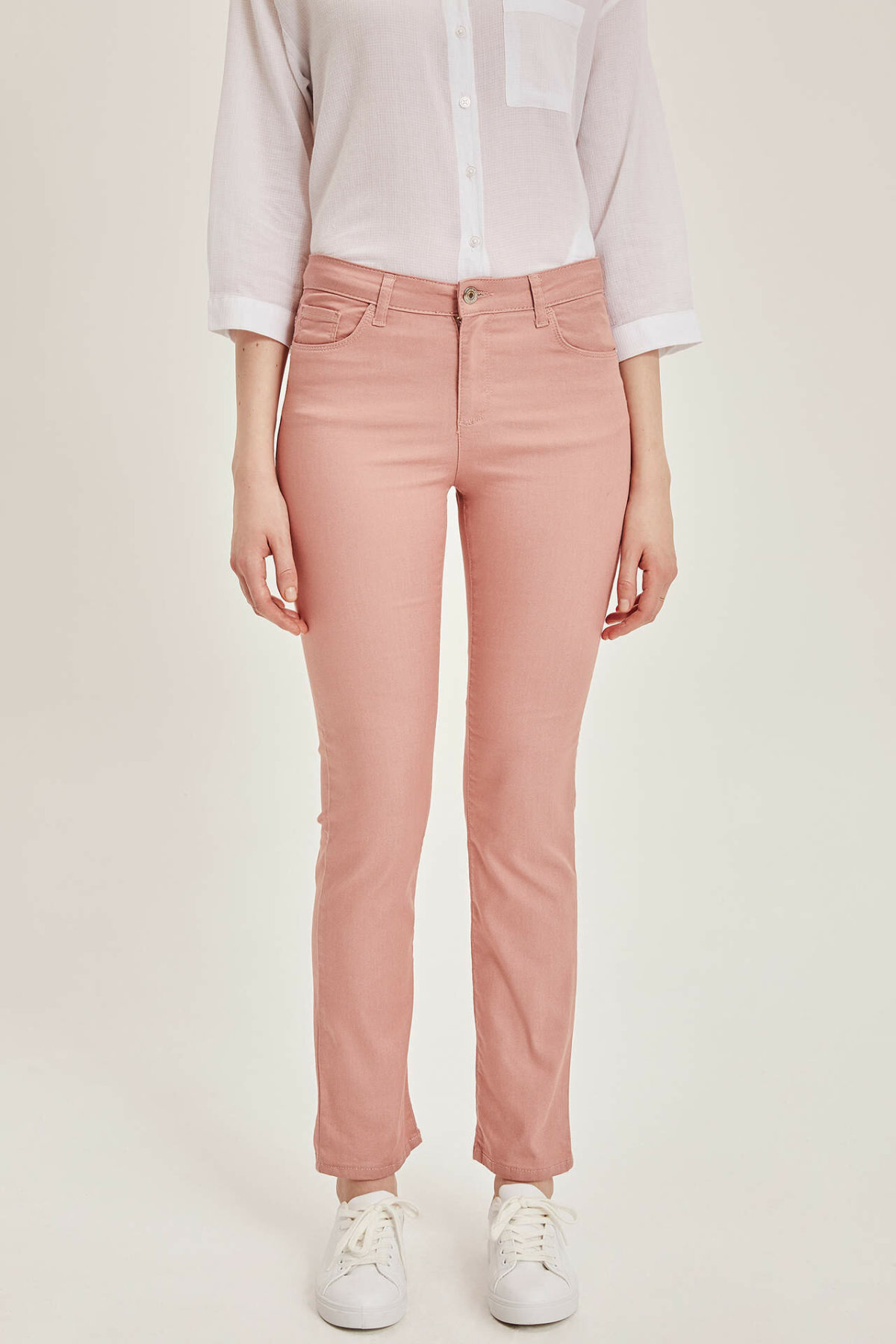 DeFacto Fashion Woman Office Mid Waist Trousers Casual Solid Work Wear Elastic Skinny Pants Autumn Female New - J8754AZ19SP