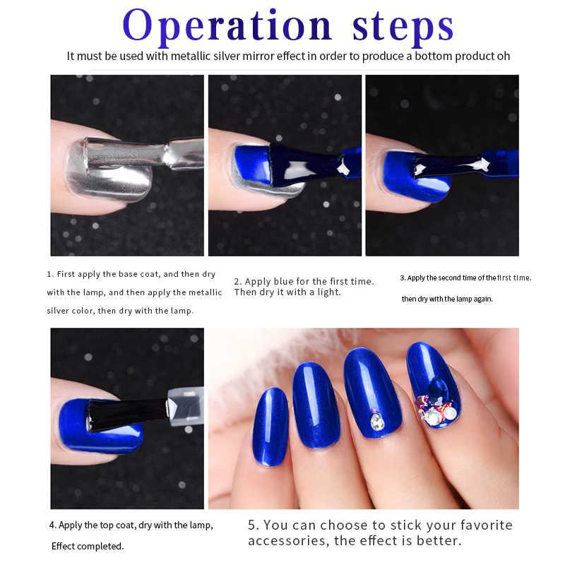 Vernis à ongles longue durée en métal série bleue Salon d'art des ongles offre spéciale 7 couleurs imbiber vernis à ongles LED UV organique