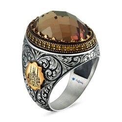 Ручное производство гравировка вышитое Zultanit двойное Vav серебряное мужское кольцо