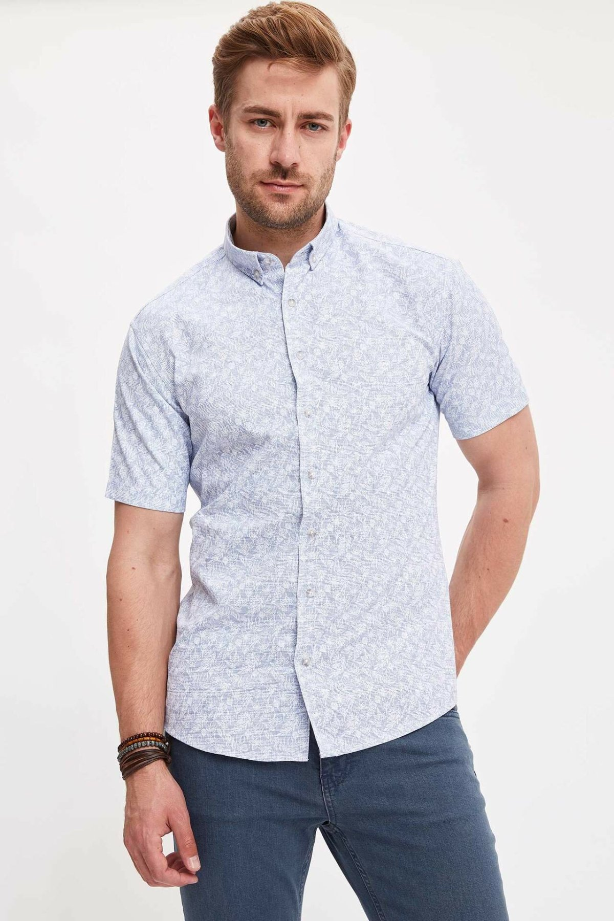 DeFacto Man Fashion Short Sleeve Shirt Summer Men's Light Color Pattern Casual Shirts Male Simple Leisure Blousers - L4573AZ19HS