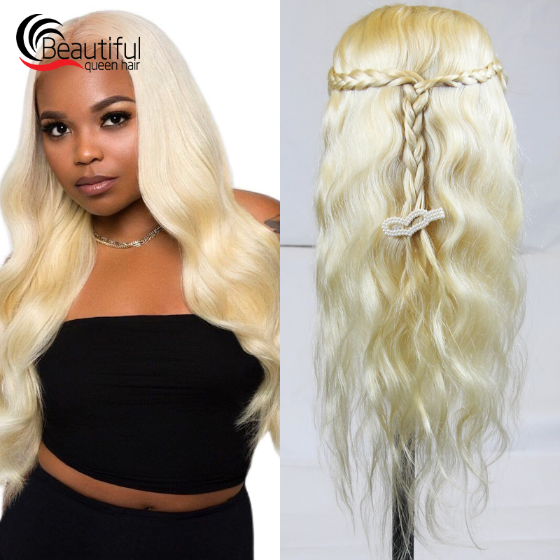 Wig Virgin-Hair Glueless Full-Lace Queen 10A Brazilian Blond Body-Wave Beautiful Pre-Plucked title=