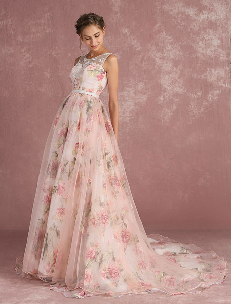 Pink Prom Dresses 2020 Long Floral Print Organza Pageant Dress Backless Chapel Train Party Dress