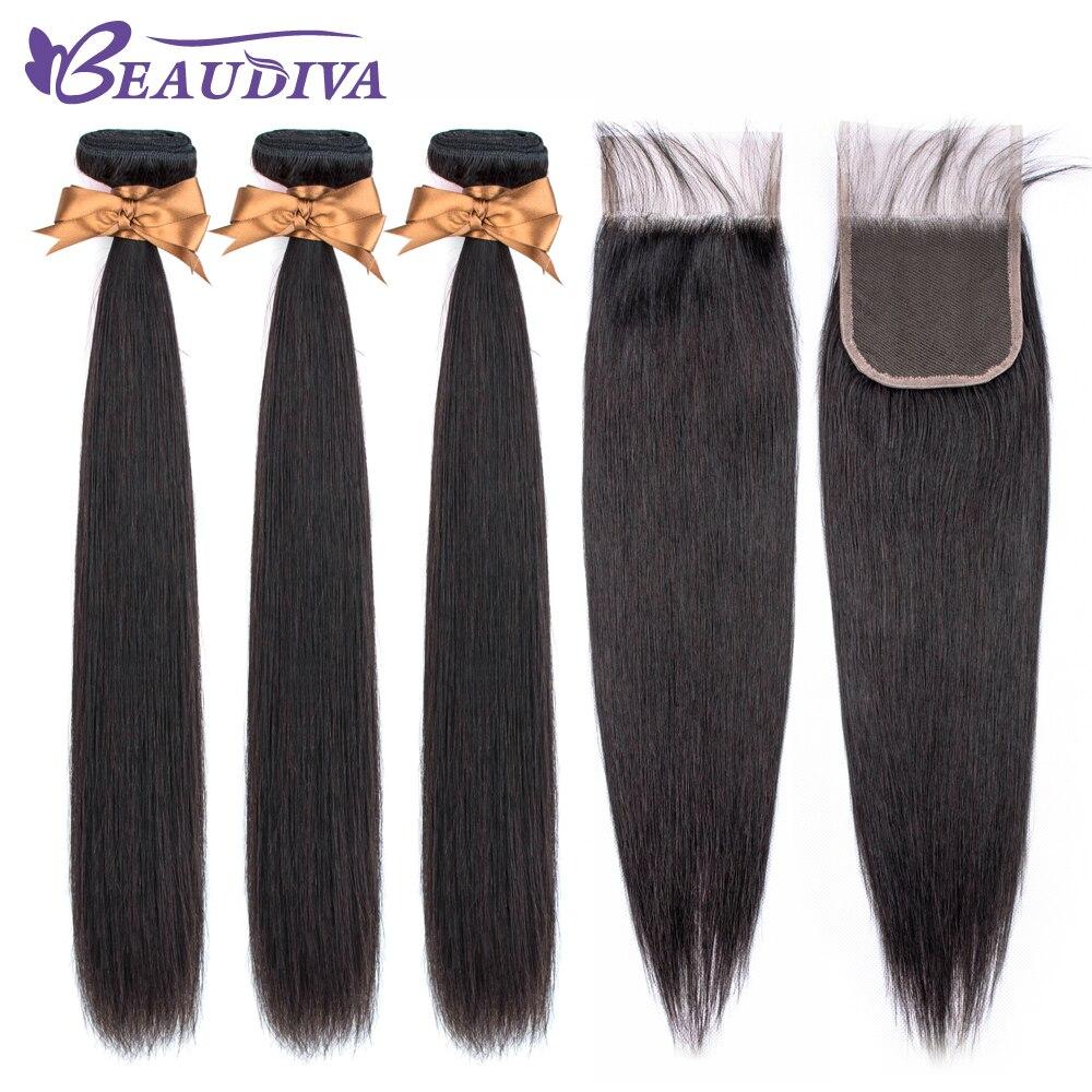 U863cbaa4f8c14c59bf9eede7275a3fe2C BEAUDIVA Human Hair Bundles With Closure Natural Color Peruvian Straight Hair Weave Bundles With Closure