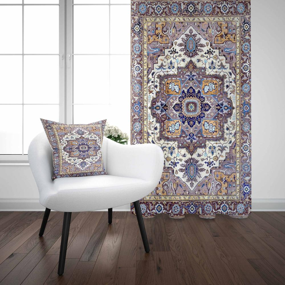 Else Vintage Turkish Ottoman Authentic Brown Blue 3D Print Living Room Bedroom Window Panel Curtain Combine Gift Pillow Case