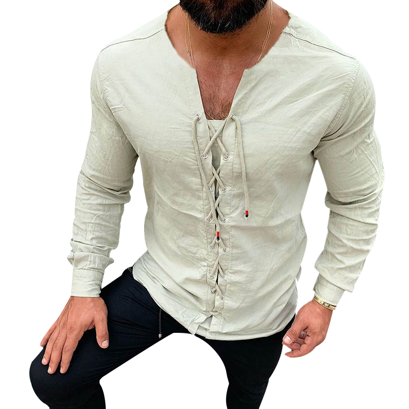 Men's Casual Pure Colour Tether Cotton Linen Shirts Slim Fit Social Harajuku Blouses Round Neck Male White Long Sleeve Clothing