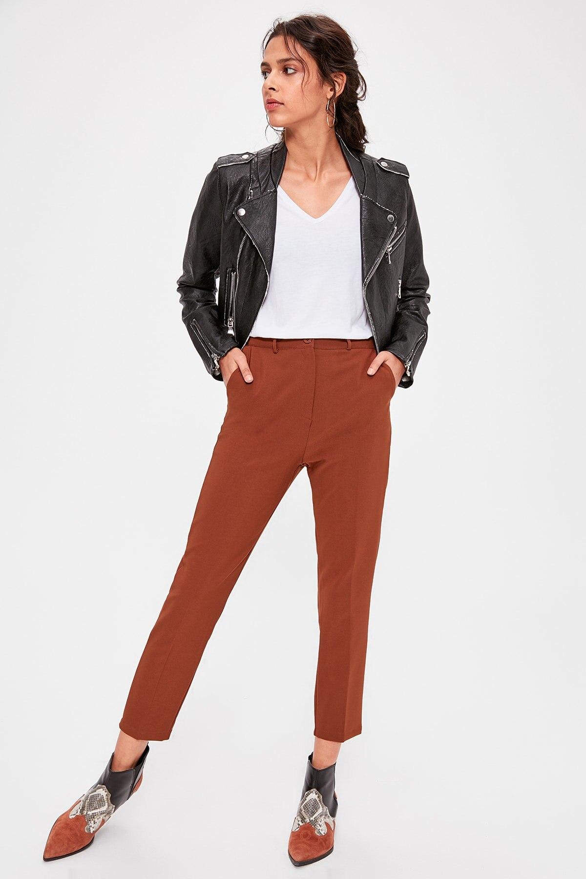 Trendyol Brown Basic Pants TWOAW20PL0322