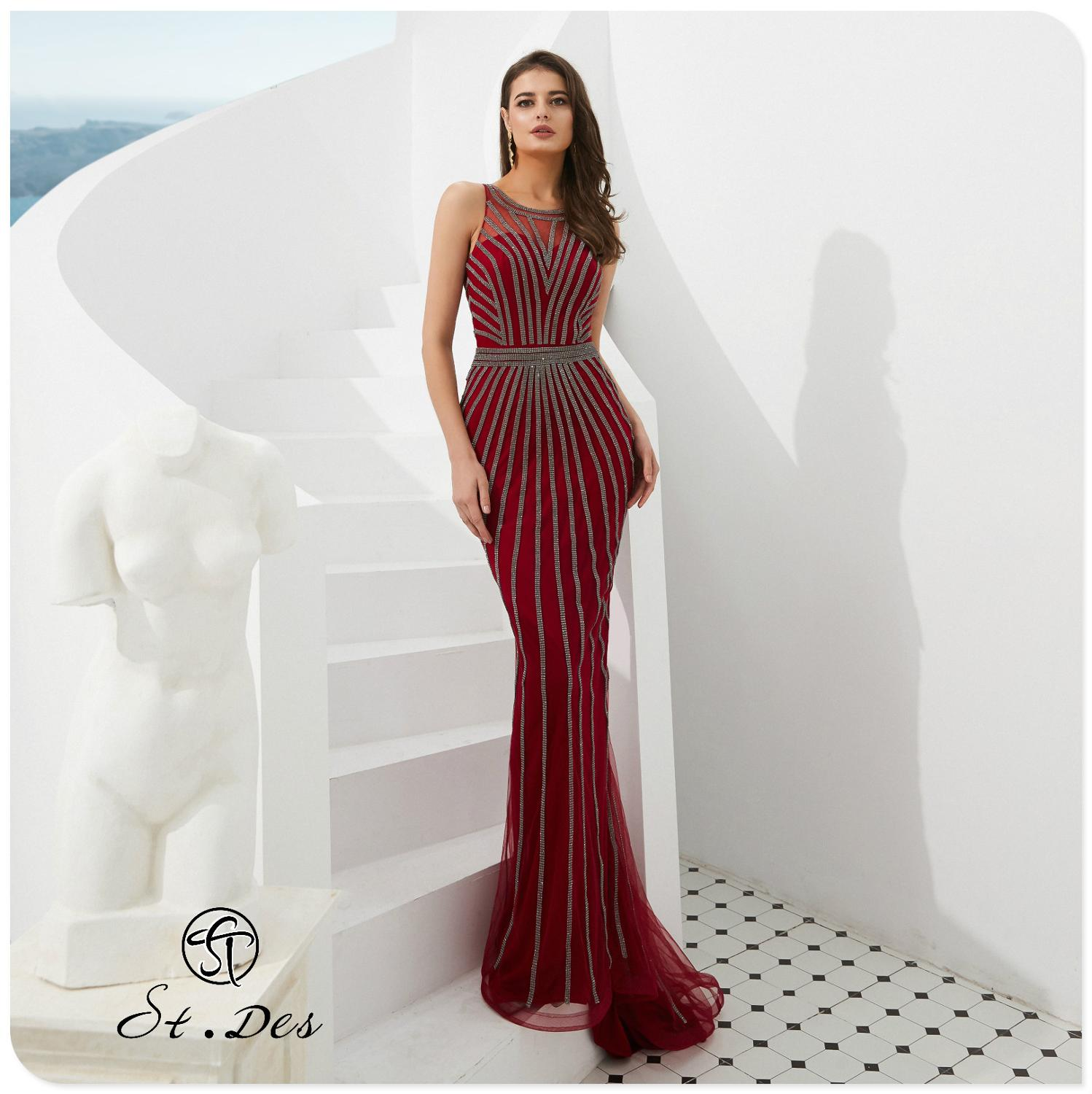 NEW 2020 St.Des Russian Mermaid Round Neck Wine Champagne Sequins Sleeveless Designer Floor Length Evening Dress Party Dress