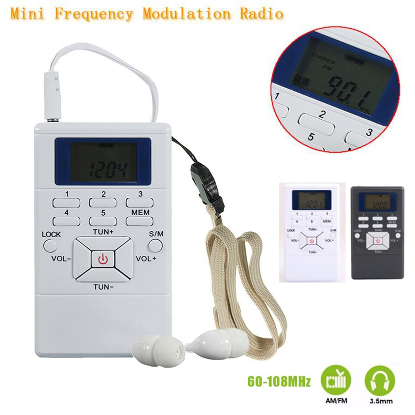 HRD-102 Small FM Digital Radio 2 Band Stereo Receiver Portable Pocket Radio W/ Headphones LCD Screen With Earphone