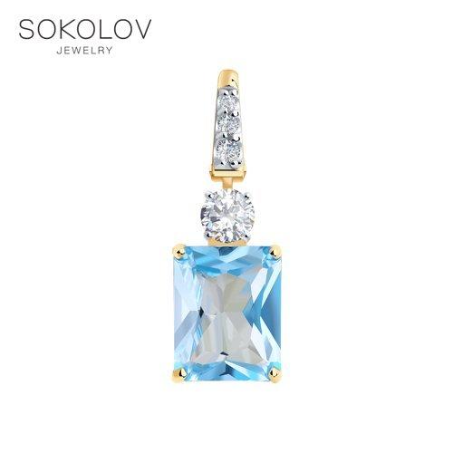 Pendant SOKOLOV Gold With Topaz And Cubic Zirkonia Fashion Jewelry 585 Women's Male