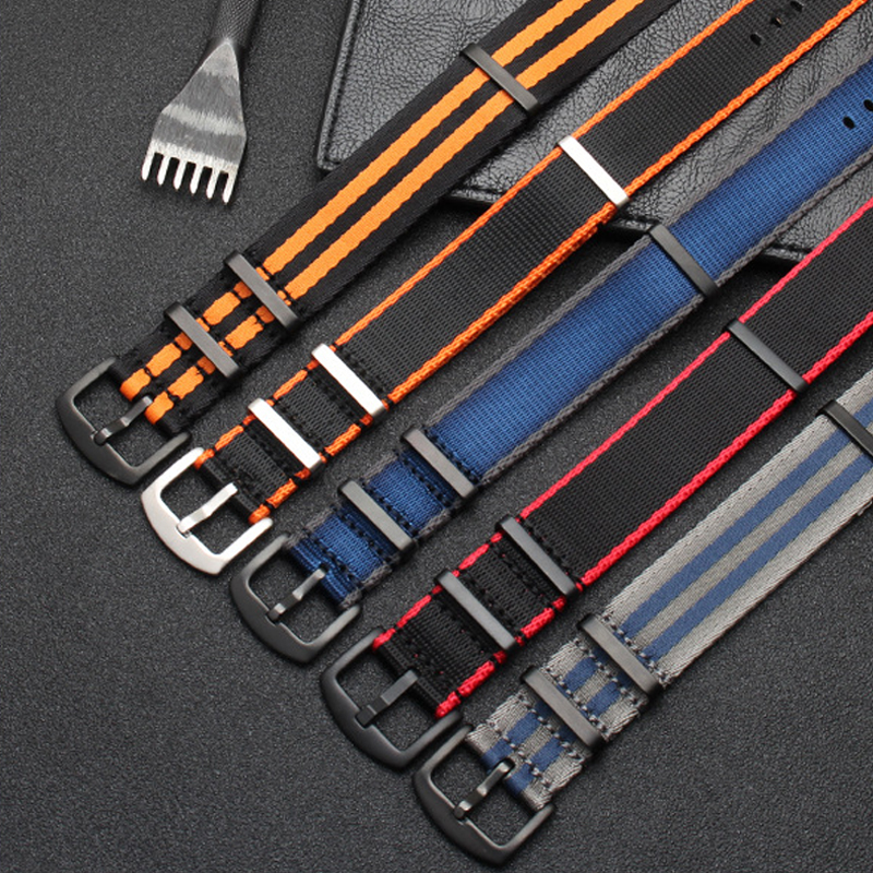 Nylon Nato Watch Band 20mm 22mm High Quality Seatbelt Watch Strap Stainless Steel Buckle Men's Watch Band