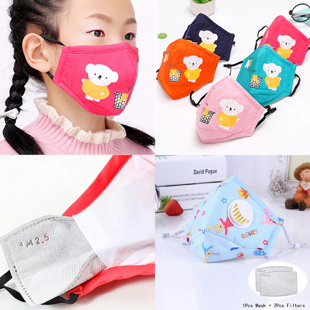 Masks Children + 2 Filters PM 2.5 Kids Mask Protection Cotton Dust Protective Face Nose Mouth Multipurpose Washable CGStore