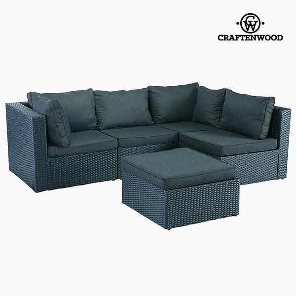 Sofa And Pouf Set (5 Pcs) Rattan Dark Grey