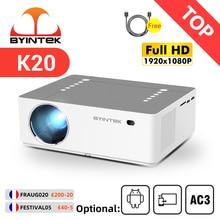 BYINTEK K20 Full HD 1080P 3D โฮมเธียเตอร์เกม LED สมาร์ท Android Wifi 300นิ้วโปรเจคเตอร์ Beamer สำหรับ4K Cinema