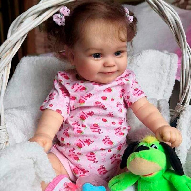 Rbg 24 polegadas maddie bebe reborn boneca sem pintura smiley lol vinil inacabado peças diy kit em branco brinquedos presente para a menina crianças