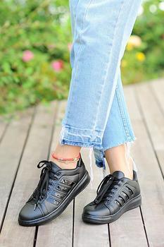 Różowy Potin kobiety czarne czarne buty A1981-20 tanie i dobre opinie Pembe Potin Oksfordzie TR (pochodzenie) Sztuczna skóra Gumką Pasuje prawda na wymiar weź swój normalny rozmiar Na co dzień