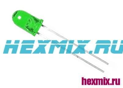LED Light-Emitting Diodes 3mm. 5 PCs (Color-Green)