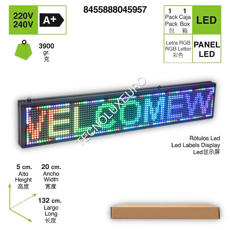 RÓTULO LED ELECTRÓNICO Aluminio Pantalla Letras RGB 132 CM X 20CM X 5CM