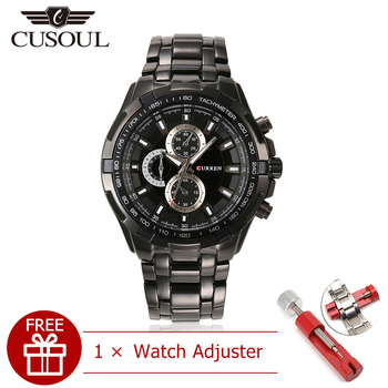 цена Cusoul Men Fashion Watches Quartz Watches Casual Wristwatches 30M Waterproof Watches Calendar Watches Stainless Steel онлайн в 2017 году