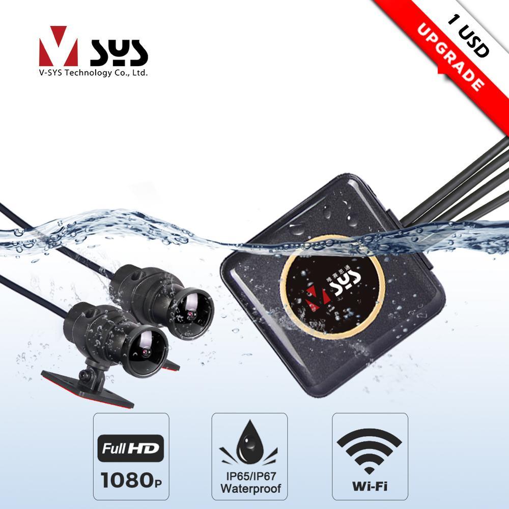 SYS VSYS corps complet étanche moto caméra enregistreur P6FL WiFi double 1080P Full HD moto DVR tableau de bord caméra noir GPS boîte