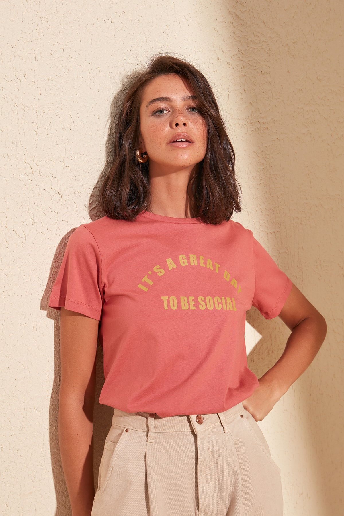 Trendyol Printed Basic Knitted T-Shirt TWOSS20TS0222