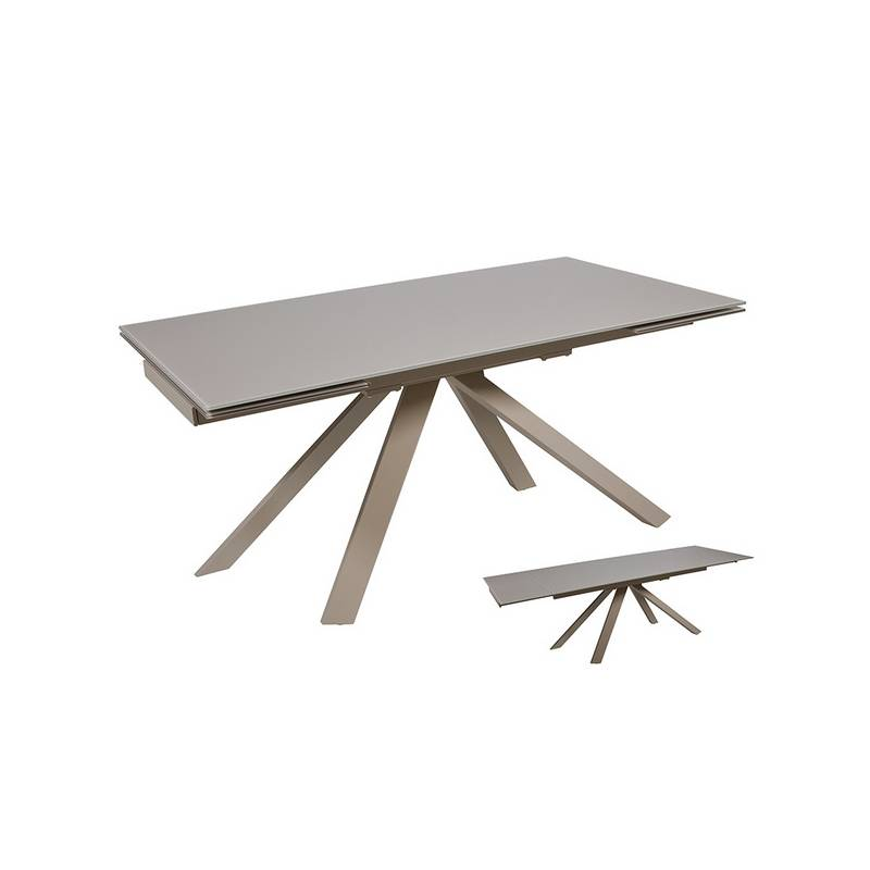 Dining Table Glass Metal Gray (160x90x76 Cm)