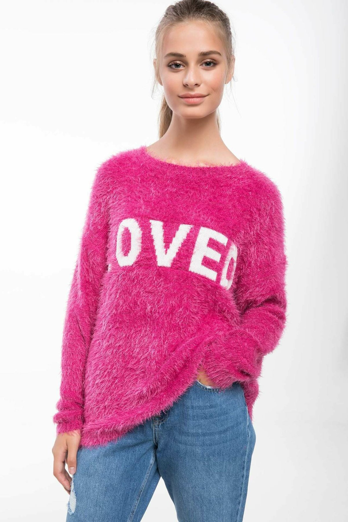 DeFacto Women Warm Mohair O-Neck Pullovers Fashion Love Letter Autumn Winter Pullover Casual Pullovers Knitted Tops-J2143AZ18WN