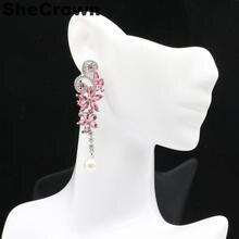 57x15mm European Style Butterfly Shape Created Pink Tourmaline White Pearl Cz Silver Earrings