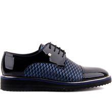 Fosco-sapatos casuais de couro de patente azul marinho