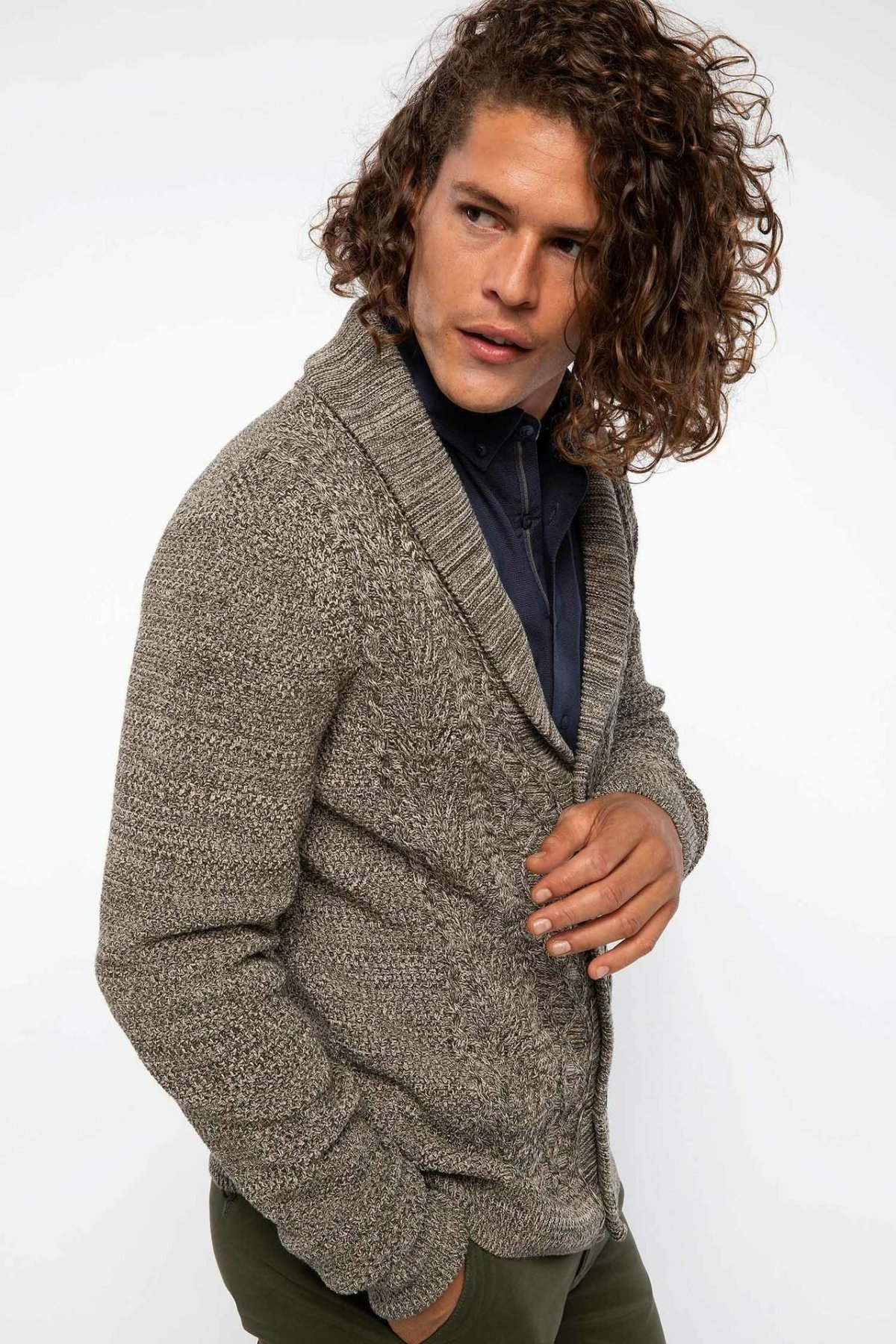 DeFacto Man Knitted Cardigan Men Autumn Winter Knit Sweaters Casual Long Sleeve Sweater Tops / Bolero-J0504AZ18WN